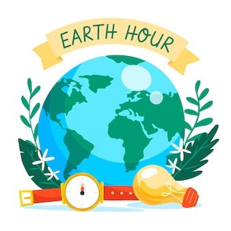 Ilustração da hora terrestre desenhada à mão com o planeta