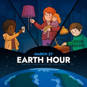 Ilustração da hora terrestre desenhada à mão com pessoas e lâmpada