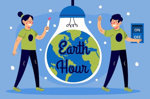 Ilustração da hora terrestre desenhada à mão, pessoas e lâmpada