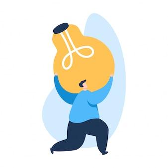 Ilustração da ideia da lâmpada, os homens trazem a ideia criativa para o seu negócio