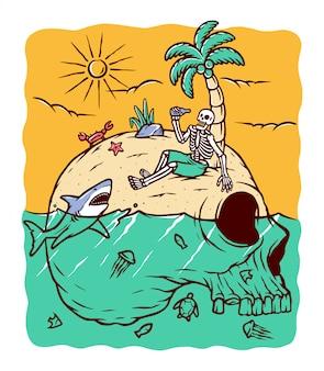 Ilustração da ilha do crânio