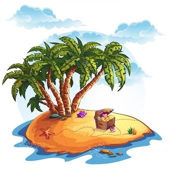 Ilustração da ilha do tesouro e palmeiras
