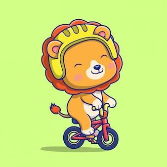 Ilustração da ilustração do ícone do leão fofo andando de bicicleta