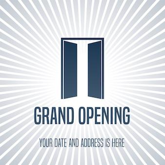 Ilustração da inauguração, fundo com porta aberta