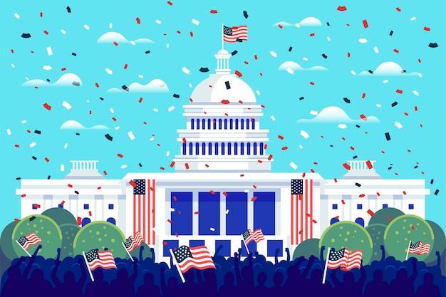Ilustração da inauguração presidencial com casa branca e bandeiras americanas