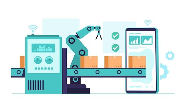 Ilustração da indústria 4.0 com braço robótico. revolução industrial inteligente no processo de fábrica
