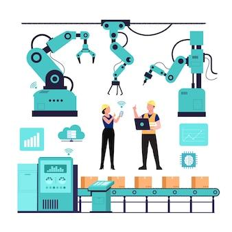 Ilustração da indústria 4.0 com programador e braços robóticos.
