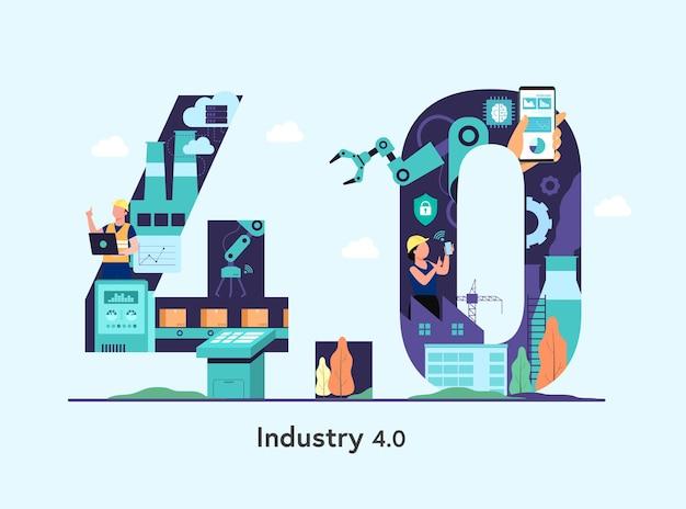 Ilustração da indústria 4.0 com programador ou trabalhador e braço robótico