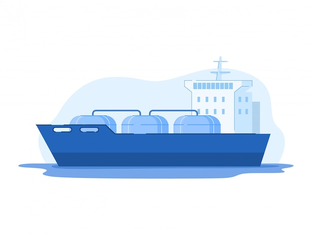 Ilustração da indústria de gás de petróleo, navio-tanque de gnl dos desenhos animados com gás comprimido, passando para a plataforma de perfuração em branco
