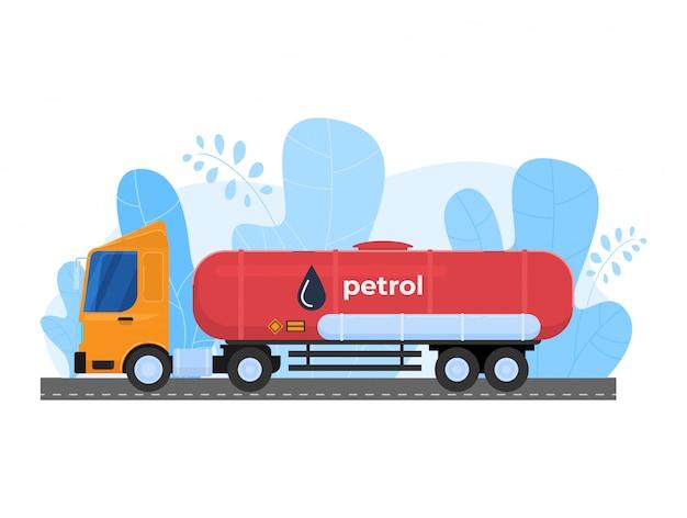 Ilustração da indústria de gás de petróleo, transporte de mercadorias dos desenhos animados, caminhão tanque carro transportando ícone de petróleo em branco