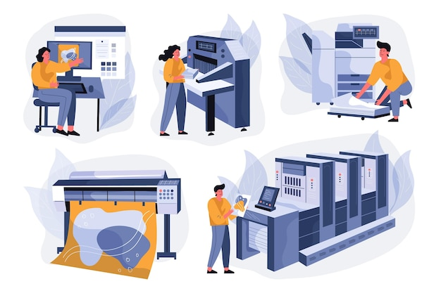 Ilustração da indústria de impressão plana orgânica