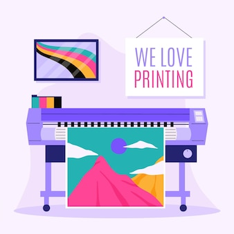 Ilustração da indústria de impressão plana