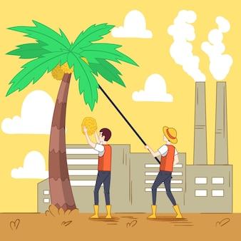 Ilustração da indústria produtora de óleo de palma desenhada à mão