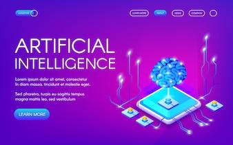Ilustração da inteligência artificial do cérebro humano com o chipset digital dos neurônios.