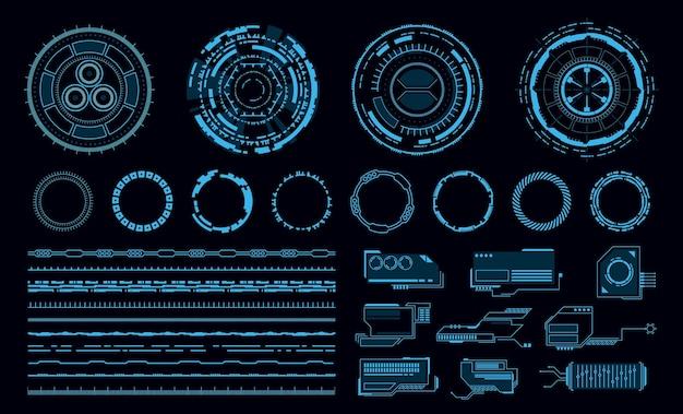 Ilustração da interface do usuário de toque virtual azul futurista de elementos hud