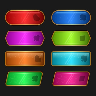 Ilustração da interface do usuário do jogo projetado com conjunto de botões para computadores de videogame