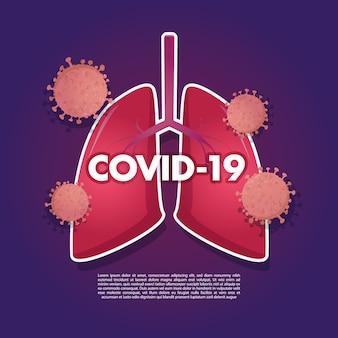 Ilustração da invasão de coronavírus nos pulmões