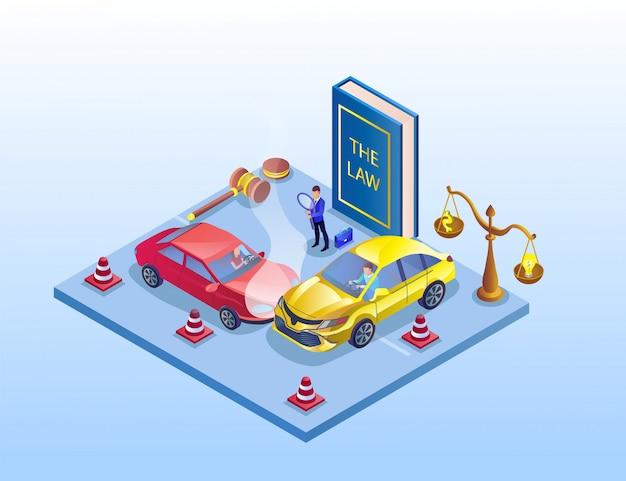 Ilustração da investigação do acidente de tráfico isométrica.