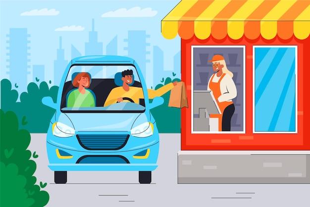 Ilustração da janela do drive thru