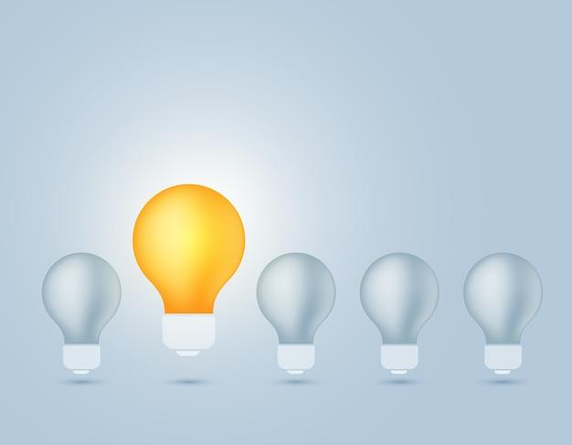 Ilustração da lâmpada apagada e uma lâmpada amarela brilhando