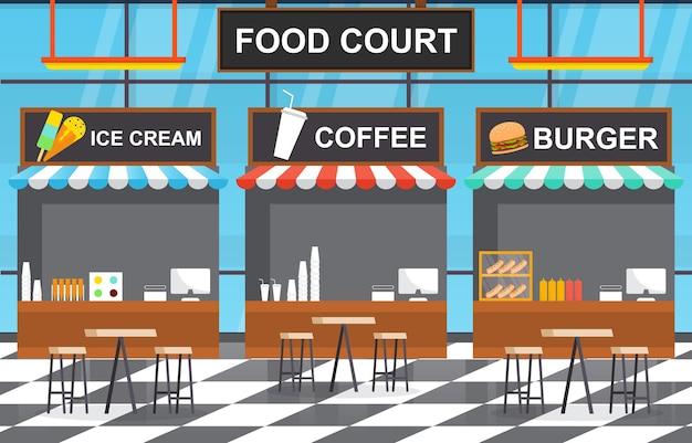 Ilustração da lanchonete da praça de alimentação interna do restaurante vazio