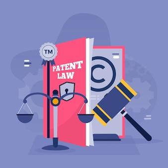 Ilustração da lei de patentes de direitos autorais