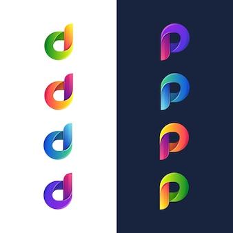 Ilustração da letra colorida d e letra p logotipo, ícone, modelo de design de etiqueta