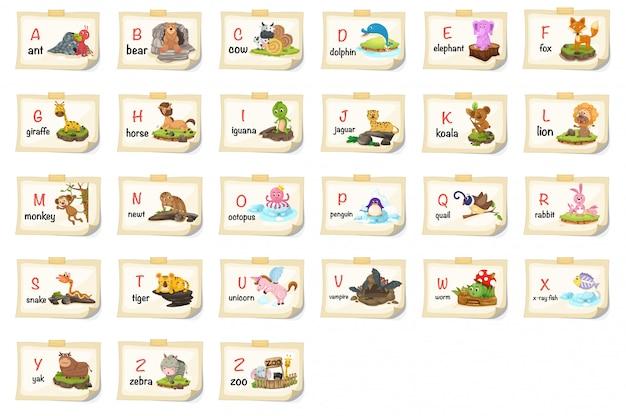 Ilustração da letra do alfabeto animal az