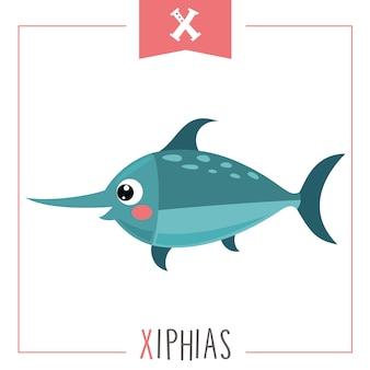 Ilustração da letra do alfabeto x e xiphias