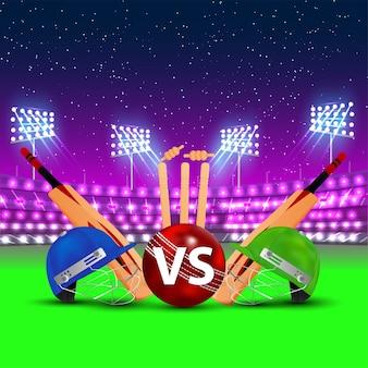 Ilustração da liga de críquete com troféu dourado e capacete de críquete