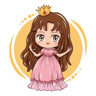 Ilustração da linda garota do personagem de desenho animado