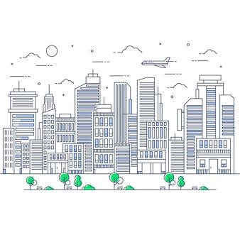 Ilustração da linha da cidade com aeronave