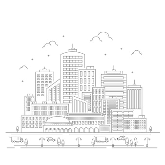 Ilustração da linha da cidade com o carro em fundo branco