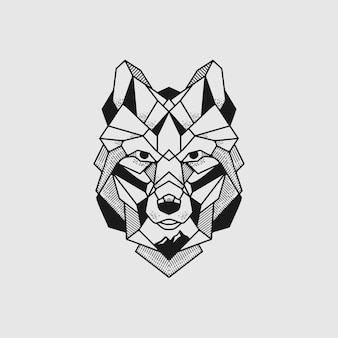 Ilustração da linha poli do lobo