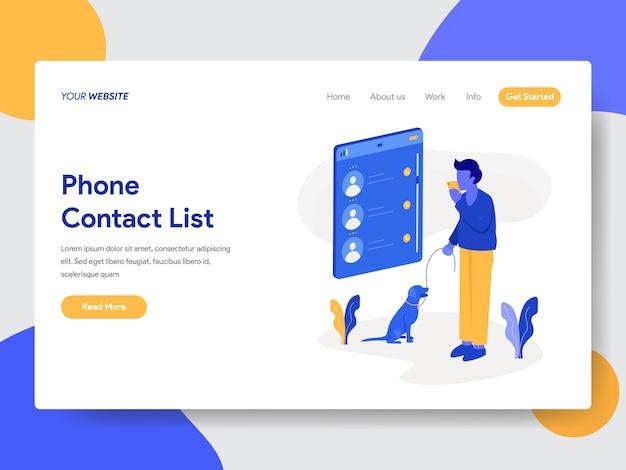 Ilustração da lista de contatos do telefone para páginas da web