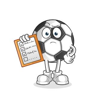 Ilustração da lista de programação da bola