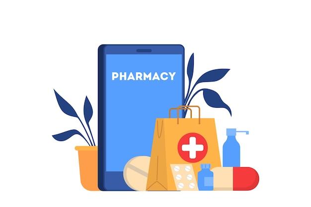 Ilustração da loja de farmácia online. conceito de compra de medicamentos online. serviço móvel.