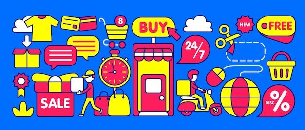 Ilustração da loja online