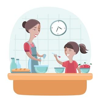 Ilustração da mãe e da filha cozinhando juntas