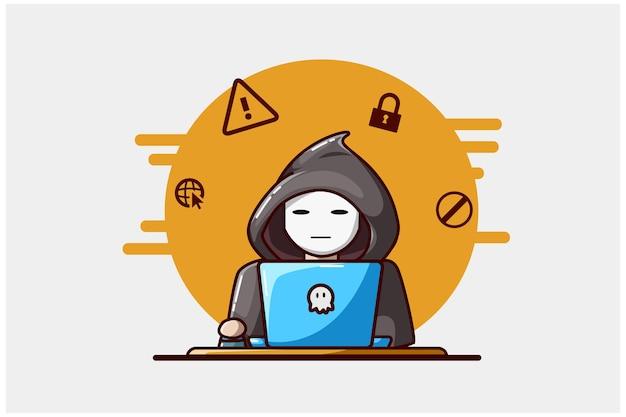 Ilustração da mão de um hacker desenhando