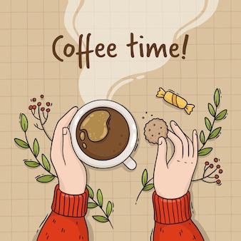 Ilustração da mão de uma menina com uma xícara de café e biscoitos