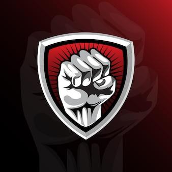 Ilustração da mão do logotipo gaming esport
