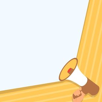 Ilustração da mão segurando o megafone, fazendo alto e maravilhoso novo anúncio. desenho da palma usando um megafone, proporcionando uma nova e poderosa propaganda.