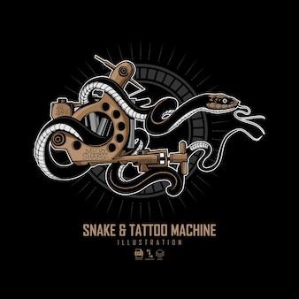 Ilustração da máquina de serpente e tatuagem