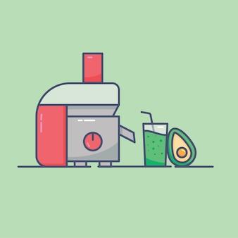 Ilustração da máquina de suco fundo design de linha plana