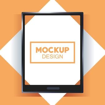 Ilustração da marca do dispositivo tablet e moldura quadrada
