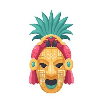 Ilustração da máscara da civilização maia