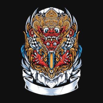 Ilustração da máscara de barong