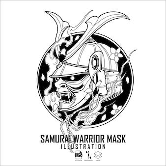 Ilustração da máscara de guerreiro samurai