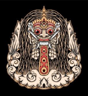 Ilustração da máscara de rangda bali. vetor premium